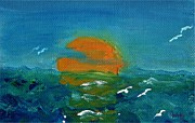 Caribbean Sea Paintings - Ocean Sunset by Paintings by Gretzky