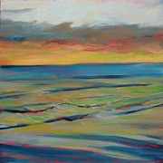 Donna Shortt Painting Posters - Ocean Sunset II Poster by Donna Shortt