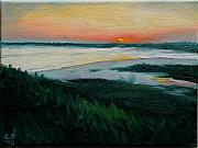 Oceanscape Paintings - Ocean Sunset No.1 by Erik Schutzman