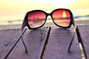 Jetty View Park Posters - Ocean sunset through the sunglasses Poster by Alexander Chaikin