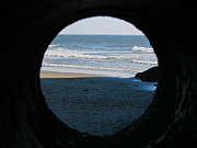 Lincoln City Posters - Ocean View Through Peep Hole Poster by Athena Mckinzie