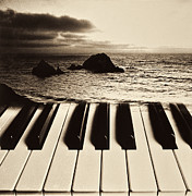 Musical Photo Posters - Ocean washing over keyboard Poster by Garry Gay