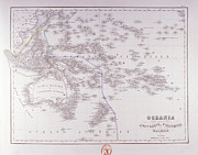 Antique Map Digital Art Metal Prints - Oceania (australia, Polynesia, And Malaysia) Metal Print by Fototeca Storica Nazionale