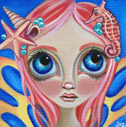Sea Shells Painting Posters - Oceanic Fairy Poster by Jaz Higgins