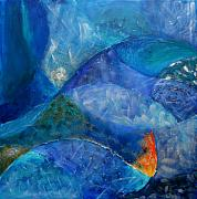 Blue Mixed Media Metal Prints - Oceans lullaby Metal Print by Aliza Souleyeva-Alexander