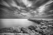 Cloud Prints - Oceanside Harbor Jetty 2 Print by Larry Marshall