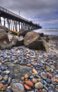 Oceanside Framed Prints - Oceanside Pier Rocks Framed Print by Kelly Wade