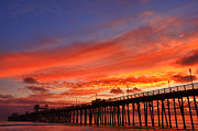Oceanside Framed Prints - Oceanside Pier Sunset Framed Print by Larry Marshall