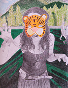 Tour Drawings Metal Prints - Ocelot Metal Print by Meghan Oona Clifford
