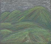 Skylines Pastels Prints - Ochre Mountains Print by Dawn Marie Black