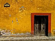 San Miguel Photos - Ochre Wall with Red Door by Olden Mexico