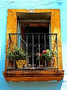San Miguel De Allende Framed Prints - Ochre Window in Turqoise Framed Print by Olden Mexico