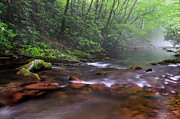 Ethereal Water Prints - Oconaluftee River Mist - North Carolina Print by Thomas Schoeller
