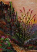 Cactus Drawings Posters - Ocotillo At Sunset Poster by Frances Marino