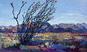 Ocotillo Cactus Framed Prints - Ocotillo Mountains Framed Print by Erin Hanson