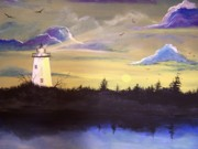 Lighthouses Paintings - Ocracoke in the Morning by Randy Edwards