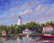Lighthouse Painting Originals - Ocracoke Reflections by Jeff Pittman