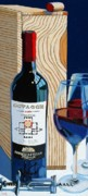 Wine Bottle Paintings - Octagon From The Box by Christopher Mize