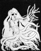 Skinny Drawings Prints - Octo-Woman Print by Oscar Gallegos