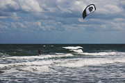 Kites Photos - October Beach Kite Surfer by Susanne Van Hulst