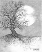 Pen Drawings Drawings Framed Prints - October Moon Framed Print by Adam Zebediah Joseph