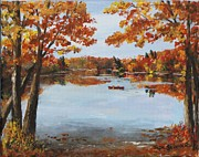 Walden Pond Painting Prints - October Morn at Walden Pond Print by Jack Skinner