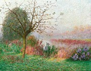 Autumn Landscape Painting Prints - October Morning on the River Lys Print by Emile Claus