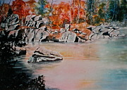 Rocky Shoreline Paintings - October on the Little Wolf River by Carolyn Rosenberger