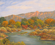 Grande Paintings - October on the Rio Grande by James Fieldson