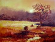 Hay Bales Paintings - October Pasture by Ginger Concepcion