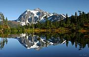 Mountain Reflection Lake Summit Mirror Prints - October Reflection Print by Winston Rockwell