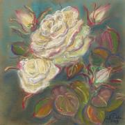 Rural Living Painting Posters - October Rose Poster by Anna Folkartanna Maciejewska-Dyba