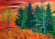 Prairies Paintings - October Tree Line by James Bryron Love