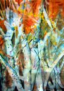 Abstract.trees Drawings Prints - October Woods Print by Mindy Newman