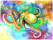 Tentacles Paintings - OctoCat by Barbi  Holzmann