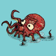 Pen  Drawings - Octopus - Color by Karl Addison