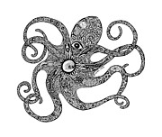 Beaches Drawings Prints - Octopus Print by Carol Lynne