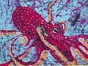 Pink Tapestries - Textiles Originals - Octopus Fine Art Batik by Kay Shaffer