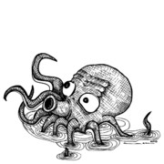Octopus Drawings - Octopus by Karl Addison