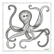 Stripes Drawings Posters - Octopus Poster by Stephanie Troxell