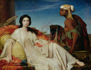Harem Painting Framed Prints - Odalisque Framed Print by Francois Leon Benouville