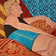 Odalisque Posters - Odalisque in Blue Shorts Poster by Kevin Callahan