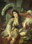 Feathered Metal Prints - Odalisque Metal Print by Jean Baptiste Ange Tissier
