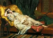 Cushions Painting Framed Prints - Odalisque with a lute Framed Print by Hippolyte Berteaux