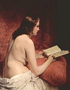 Hayez Paintings - Odalisque With Book by Pg Reproductions