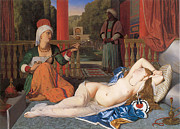 Ingres Paintings - Odalisque with Slave by Jean-August-Dominique Ingres