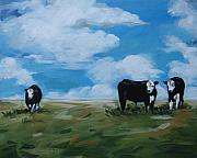 Cows Drawings Posters - Odd Cow Out Poster by Outre Art  Natalie Eisen