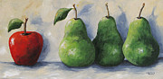 Red Pear Framed Prints - Odd Man Out Framed Print by Torrie Smiley