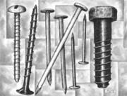 Bolts Drawings - Odds and Ends by Adam Zebediah Joseph