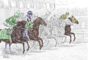Thoroughbred Drawings - Odds Are - Tb Horse Racing Print color tinted by Kelli Swan